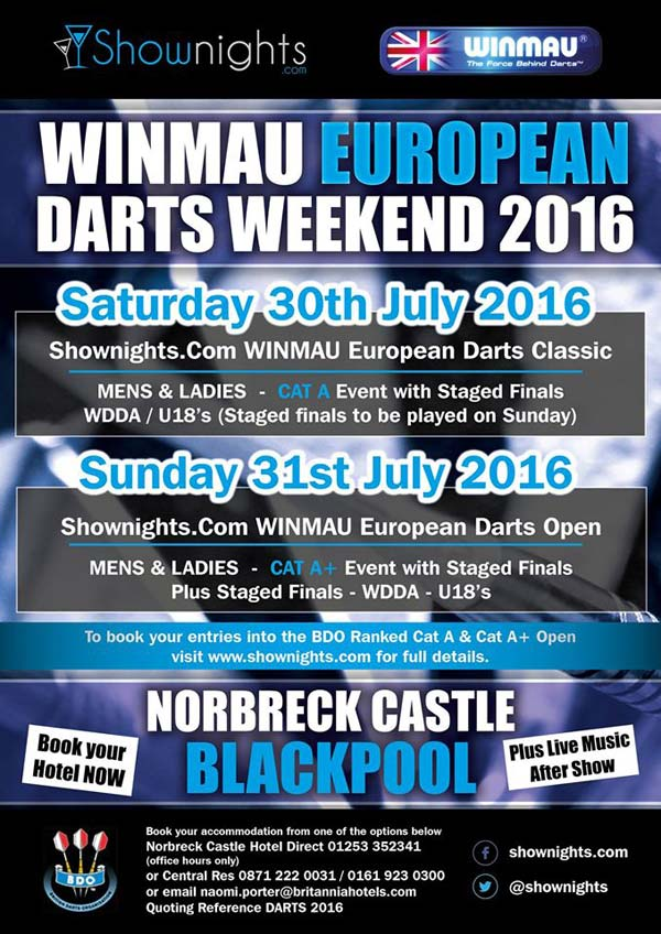Winmau European Darts Weekend 2016 Poster