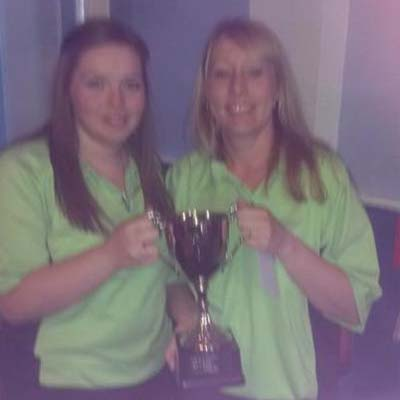 Dorset Superleague Challenge Cup Ladies Champions Lytchett Katie Mitchell and Suzy Trickett 2014-2015