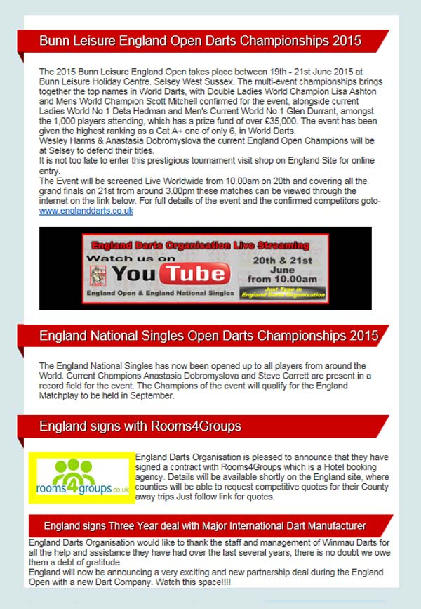 England Darts Organisation Newsletter Issue 1 - Dorset County Darts Association