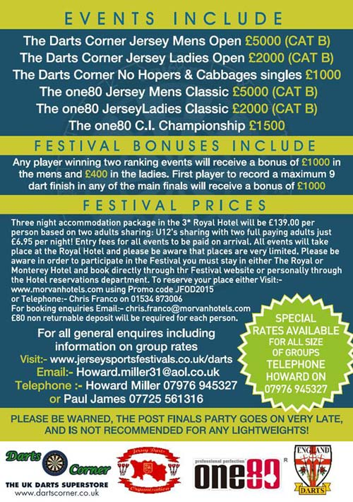 Jersey Festival of Darts 2015 Poster Back