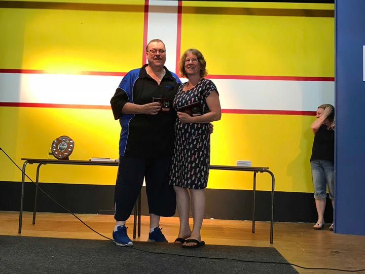 Dorset Superleague Mixed Pairs Runners-up Cathy Campbell and Nigel Lamb 2017-2018